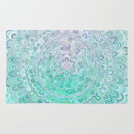 Turquoise Ice Flower Mandala Rug