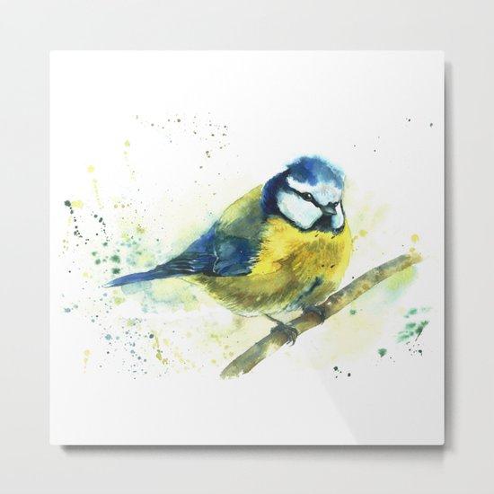 Watercolor titmouse bird Metal Print