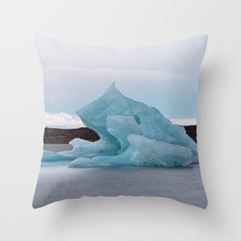 Big blue iceberg in front of a glacier Throw Pillow