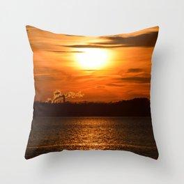 Sunset with Smoke Throw Pillow