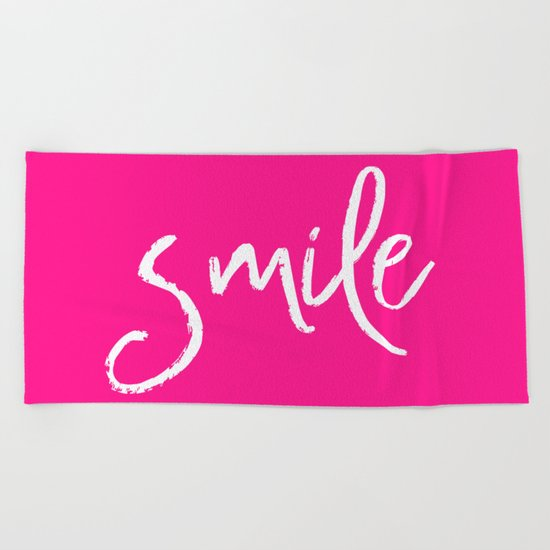 Smile- Funny Typography on simple pink background texture on #society6 Beach Towel
