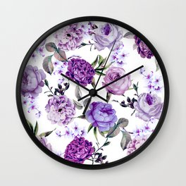 Elegant Girly Violet Lilac Purple Flowers Wall Clock