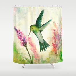 Hummingbird & Lupine watercolor Shower Curtain