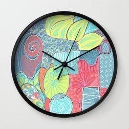 Retro Doodle design Wall Clock
