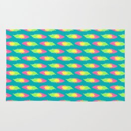 Tropical Green Feather Striped Surface Pattern Design Rug