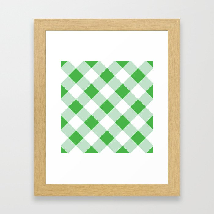 Gingham - Green Framed Art Print