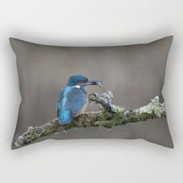 Kingfisher with Fish on a branch Rectangular Pillow