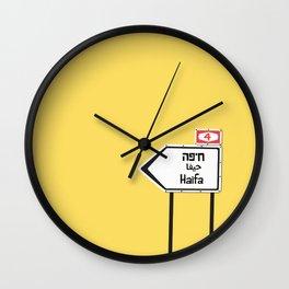 Haifa, This Way Wall Clock