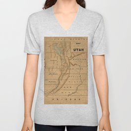 Map of Utah 1871 Unisex V-Neck