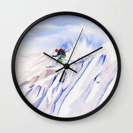 Powder Skiing Wall Clock
