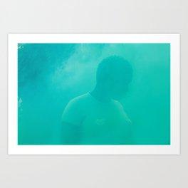 lux in green smoke Art Print