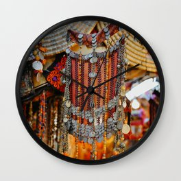 Old city in Jerusalem, Israel   Colorful mask for women   Travel photography   Fine art print Wall Clock
