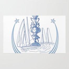 Yacht Club Racing Trophy Cup Drawing Rug