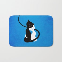 White And Black Cats In Love Bath Mat