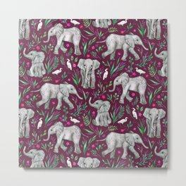 Baby Elephants and Egrets in Watercolor - burgundy red Metal Print