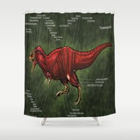 muscle Shower Curtains featuring Tyrannosaurus Rex Muscle Reconstruction by Rushelle Kucala Art