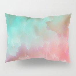 Pink and Green Watercolor Art Pillow Sham