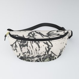 I See Leaves of Green Black White Green Moose Linocut Block Print Graphic Design Fanny Pack