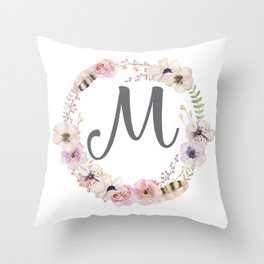 Floral Wreath - M Throw Pillow
