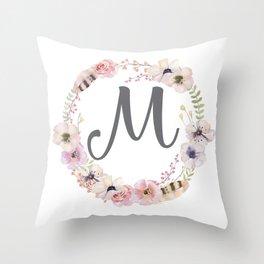 Floral Wreath - M Throw Pillow