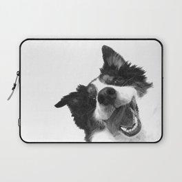 Black and White Happy Dog Laptop Sleeve