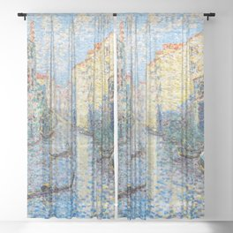 """Henri-Edmond Cross """"Un canal à Venise"""" Sheer Curtain"""