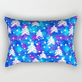 Watercolor Seamless pattern with hand drawn snowflakes and christmas tree . Rectangular Pillow