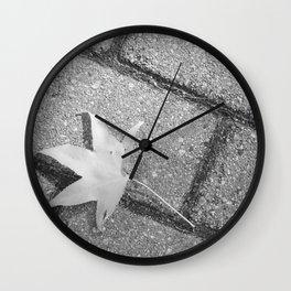 Lonley Leaf on street - Photography black & white  Wall Clock