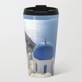 Santorini Island with churches and sea view in Greece Travel Mug
