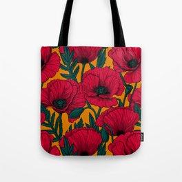 Red poppy garden Tote Bag