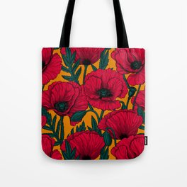 Red poppy garden    Tote Bag