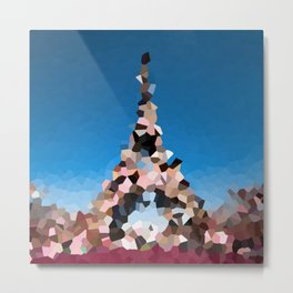 Paris Eiffel Tower Abstract Geometric Metal Print