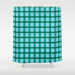 Teal Blue Jagged Edge Plaid Shower Curtain