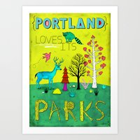 parks Art Prints featuring Portland Parks by Jon MacNair