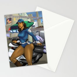 Sexy Space Cop Stationery Cards