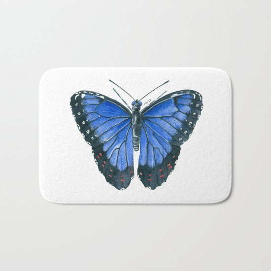 Blue Morpho butterfly watercolor painting Bath Mat