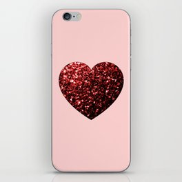 Red Glitter sparkles Heart iPhone Skin