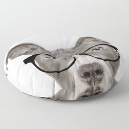 Pit bull with glasses Dog illustration original painting print Floor Pillow