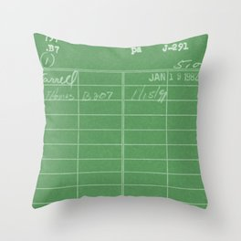 Library Card 797 Negative Green Throw Pillow