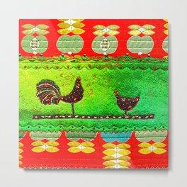 Modern folk art in red and green Metal Print