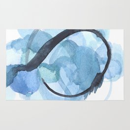 Ampersand: a vibrant blue abstract art piece Rug
