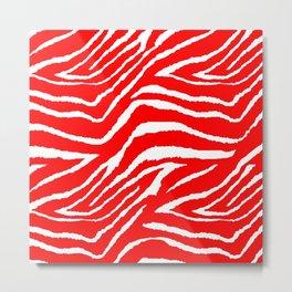 Animal Print Zebra Red and White Metal Print