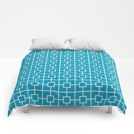 Blue Green Square Chain Pattern Comforters