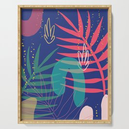 blue tropical print Serving Tray