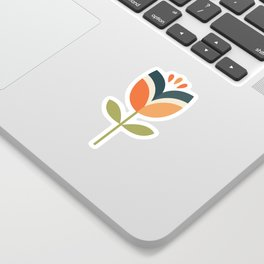 RETRO TULIP - ORANGE AND OLIVE GREEN Sticker