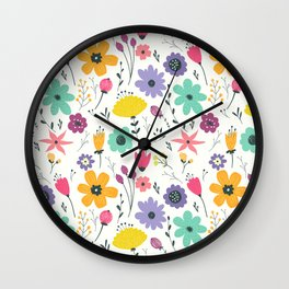 Colorful orange purple modern abstract floral illustration Wall Clock