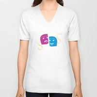 theatre V-neck T-shirts featuring Theatre Masks by G_Stevenson