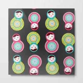 dolls matryoshka on black background, pink and blue colors Metal Print