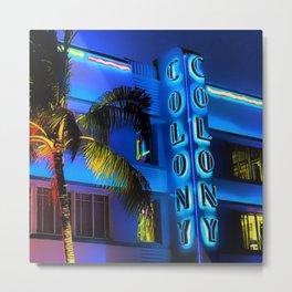 Blue Midnight - South Beach Colony Hotel landscape by Jeanpaul Ferro Metal Print