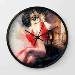 Painted Fan Dancer - Dressing Room Neck Massage Wall Clock